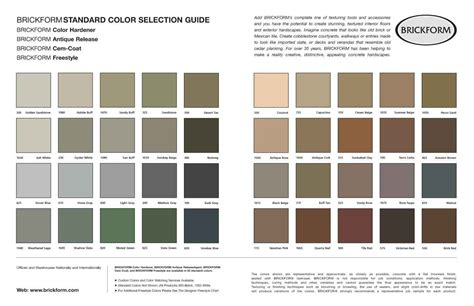 brickform color chart brickform color chart color hardener brickform 5 gallon