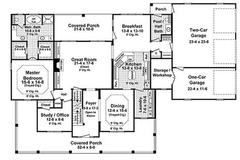 how big is 2500 square feet country style house plan 4 beds 3 50 baths 3000 sq ft