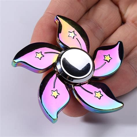 Fidget Spinner Theree Side Rainbowhand Spinner Time Spin 3 7 Menit spinner colorful 6 6cm rainbow floral time killer edc metal fidget spinner gamiss