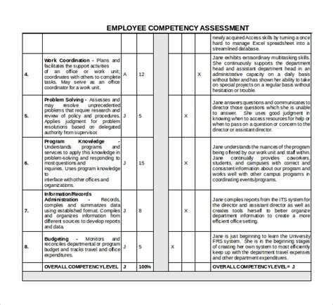 7 Competency Assessment Templates Sle Templates Employee Competency Assessment Template