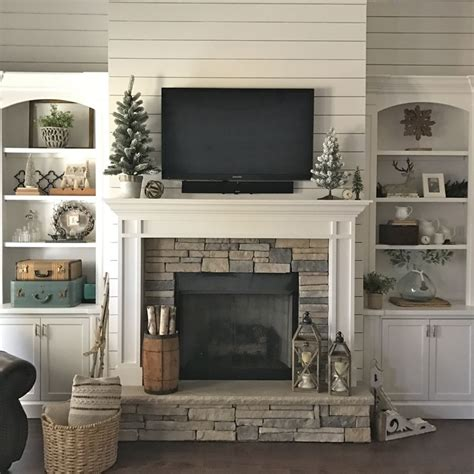 Christmas Fireplace Decorating Ideas how to style simple book shelves