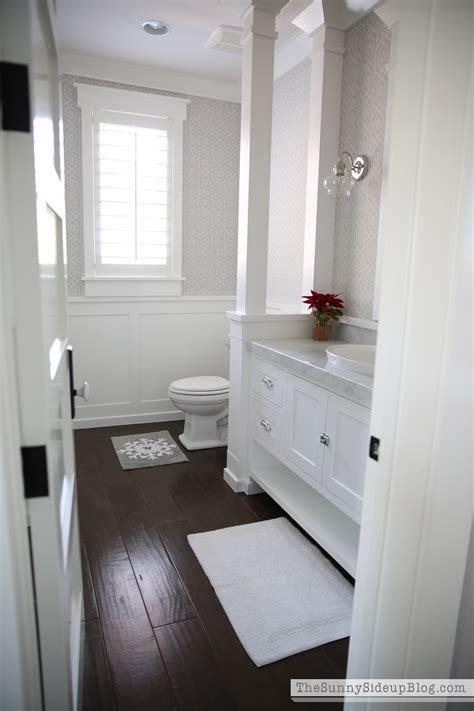 bathroom with dark wood floor christmas in the powder bathroom the sunny side up blog