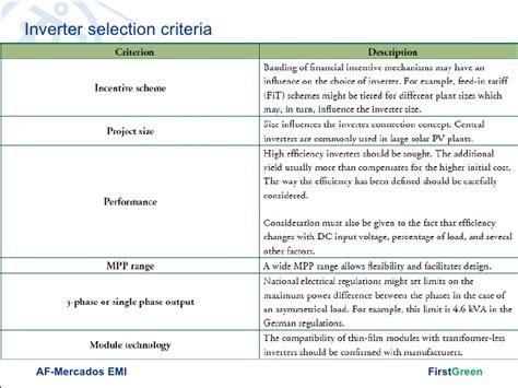 design selection criteria solar power plant system sizing