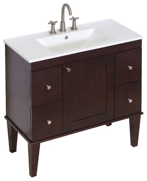 birch wood veneer vanity set antique walnut 36 quot x18