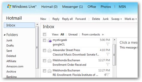 imagenes hotmail screenshot tour the new hotmail wave 4