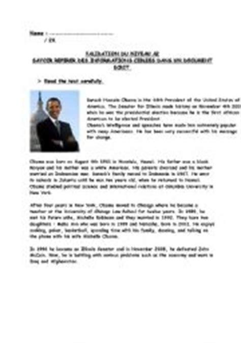 barack obama biography fact sheet english worksheets reading worksheets page 147