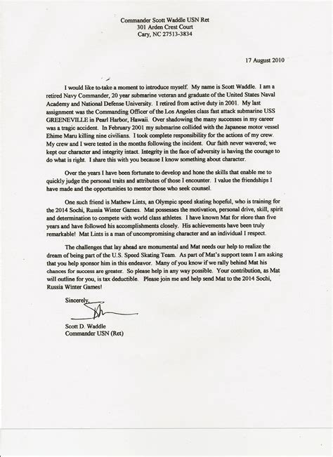 Recommendation Letter Navy Letter Of Recommendation From Commander D Waddle U S Navy Ret Picture Matsnation