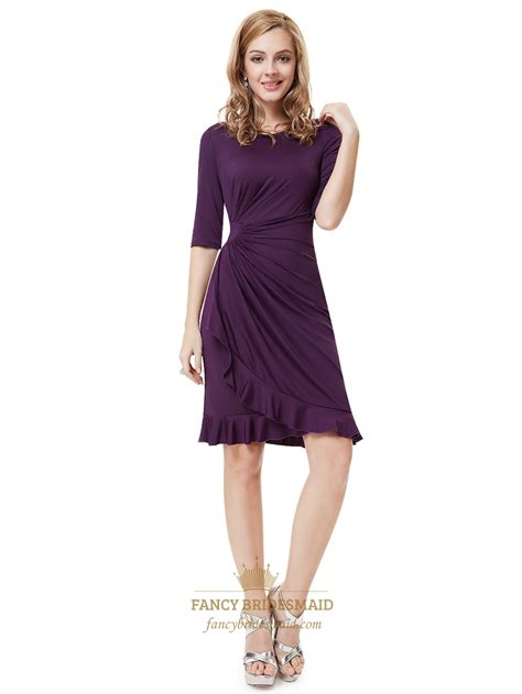 grape  sleeve side ruched knee length sheath cocktail