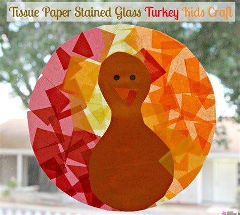 Tissue Paper Turkey Craft - tissue paper stained glass turkey craft