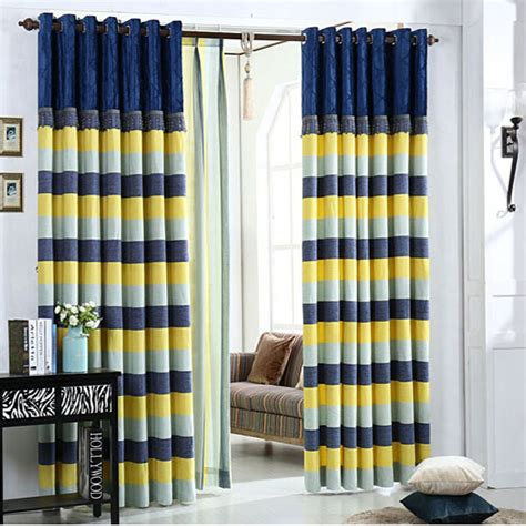 Nursery Curtains Blackout D 233 Sinvolte Poly Coton Ray 233 Bleu Marine Jaune Chambre 224