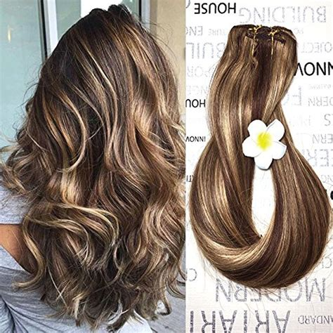 Hair Extension Colours For Medium Skin Tones Q A Clip Hair Extensions In Human Medium Brown With Honey Highlights 4 27 14 Ebay