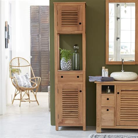 Humidité Salle De Bain by Coline Teak Cupboard Column 190 Bathroom Storage Column