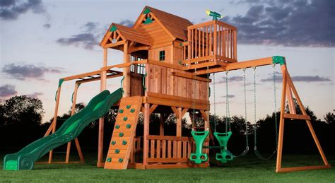 childrens wooden swing and slide sets new big 9 kid cedar wood fort playground slide monkey bars