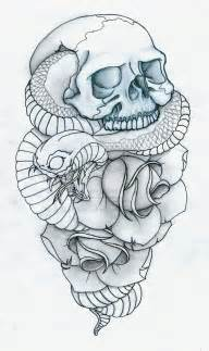 skull snake and roses tattoo by pulverisedfetus on deviantart