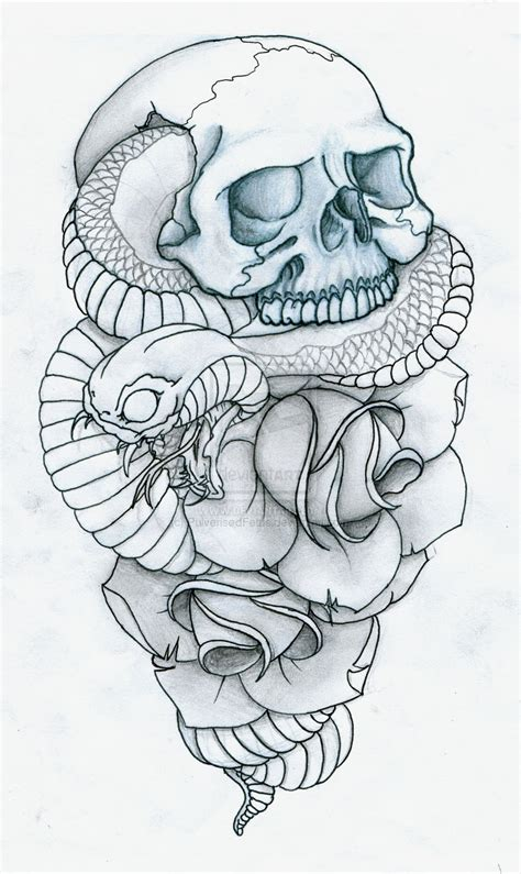 skull rose snake tattoo projekt on octopuses skull tattoos and