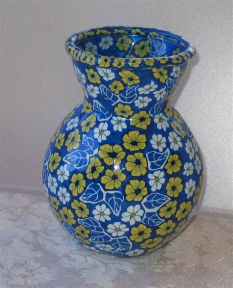 polymer clay vase 4 5 inch glass vase covered with by jbwolen