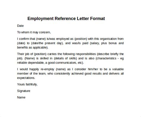 Format Of Reference Letter For Employment Sle Reference Letter Format 7 Free Documents In Pdf Word