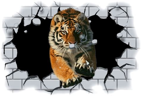 Paint By Number Wall Mural huge 3d tiger crashing through wall view wall sticker