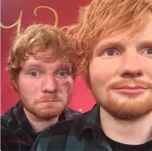 ed sheeran eye color ed sheeran takes selfie with his madame tussauds ny wax