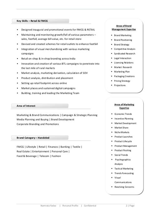 Resume Key Skills Marketing Namrata Media Marketing Brand Communications Cv