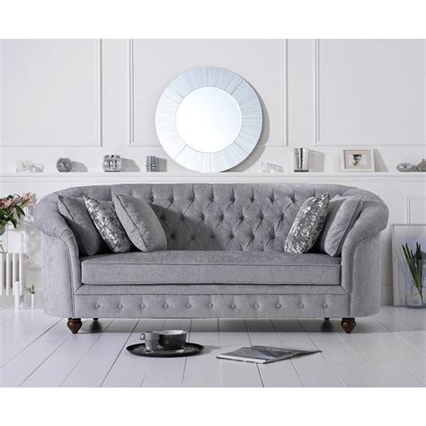 grey three seater sofa chesterfield grey plush fabric three seater sofa fads