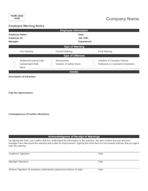 employee write up template 3 legalforms org
