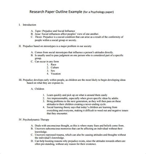 paper outline template research paper outline template 9 free word excel pdf