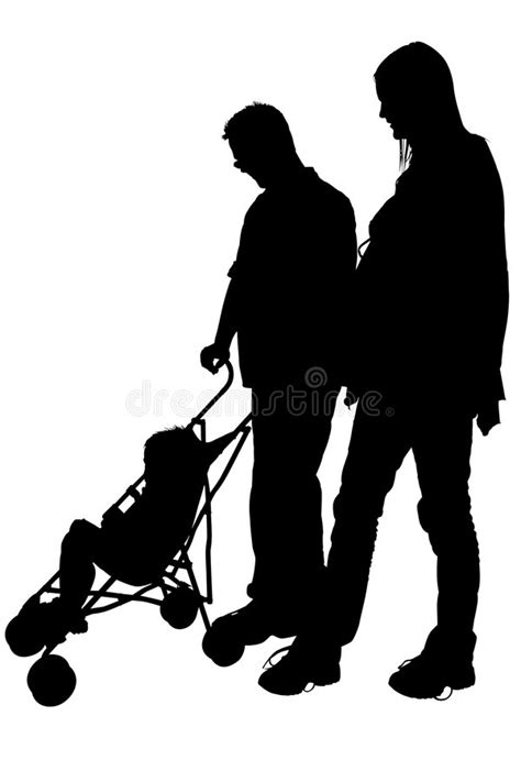 Silhouette With Clipping Path Of Mom Dad And Stroller