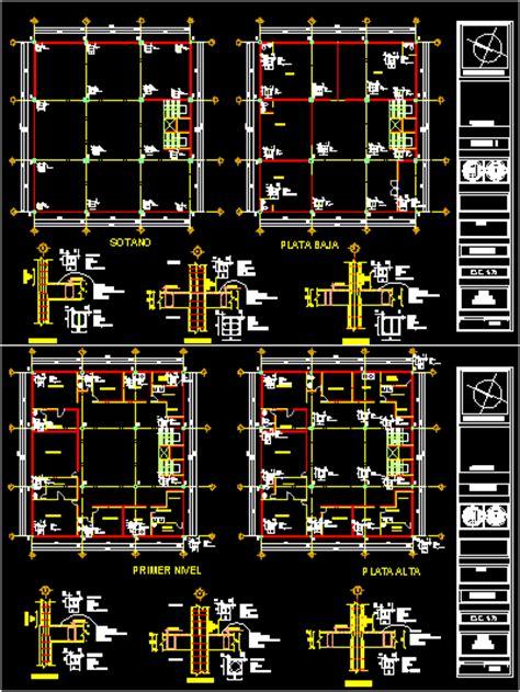 columns layout plans specs autocad cad kb bibliocad