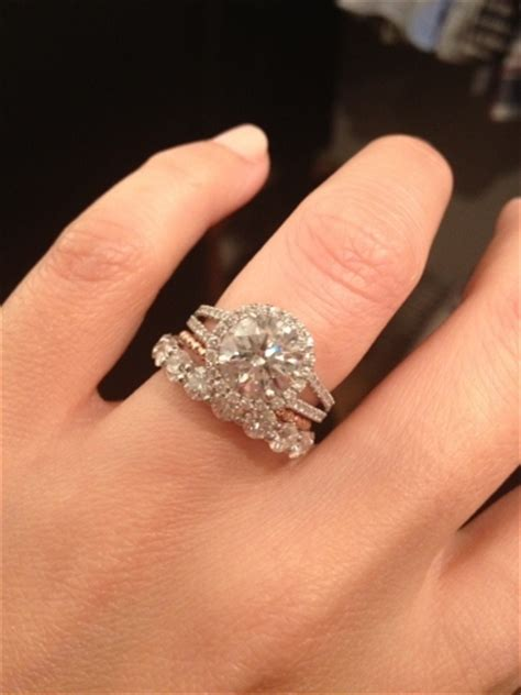 eternity wedding and engagement rings worn together