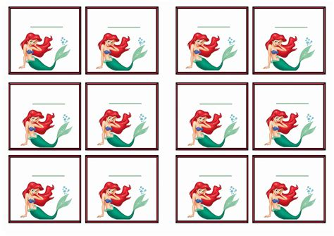 printable mermaid stickers free printable little mermaid themed name tags themed