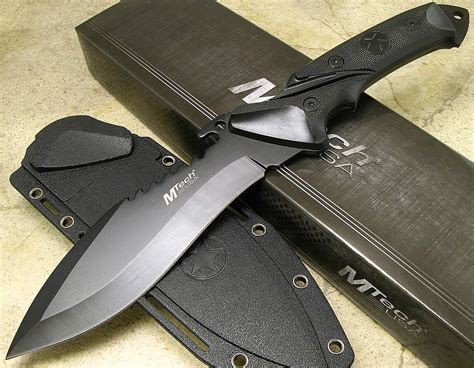combat fixed blade mtech tactical black sawback fixed blade combat knife
