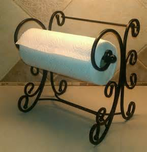tuscan style scroll heavy metal paper towel holder