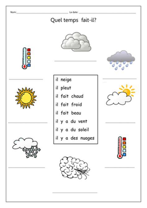 Le Calendrier Worksheet Quel Temps Fait Il Gap Fill Weather Symbols By