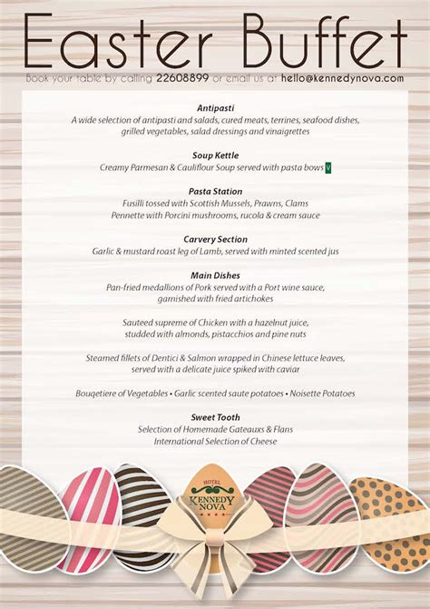 easter lunch menu download hotel kennedy nova