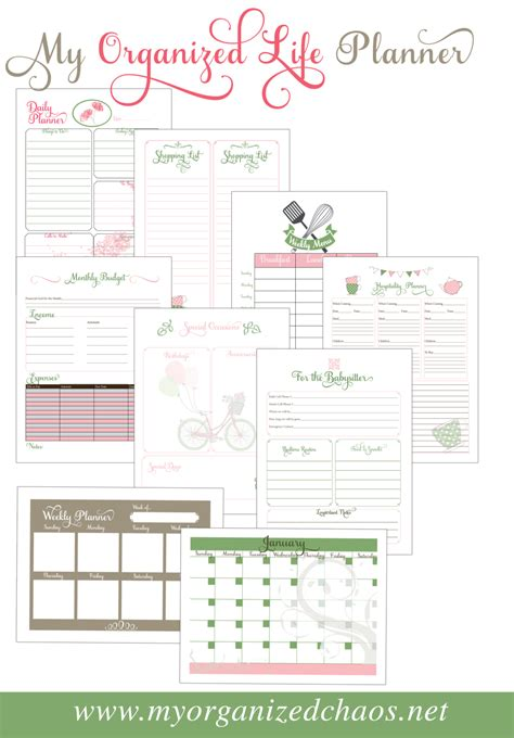 free printable life planners my organized life printable planner my organized chaos