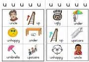 Workcard two workcards with pictures and words starting with u level