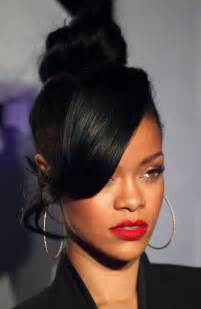 side shave hairsstyle american rihanna top knot with side swept bang hair relaxed