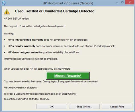 reset hp deskjet 1010 hp printer error used or counterfeit cartridge detected
