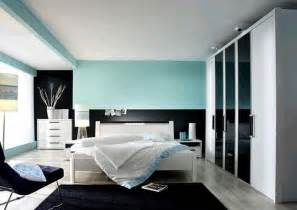 Design ideas of modern bedroom color scheme with black blue wall paint