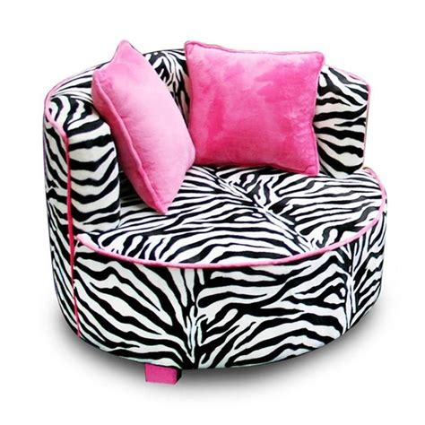 Leopard Print Chaise Lounge Black Pink Zebra Round Chair Air Room Dorm Kids Teen Bean