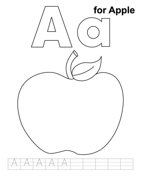 apple coloring pages kindergarten a for apple coloring page with handwriting practice