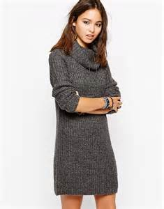 only only roll neck jumper dress in marl at asos