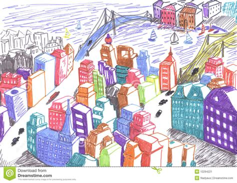 Fairy House Plans City Colored Drawing Concept Stock Illustration Image
