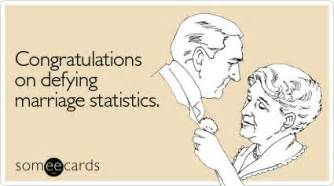 congratulations on defying marriage statistics anniversary ecard