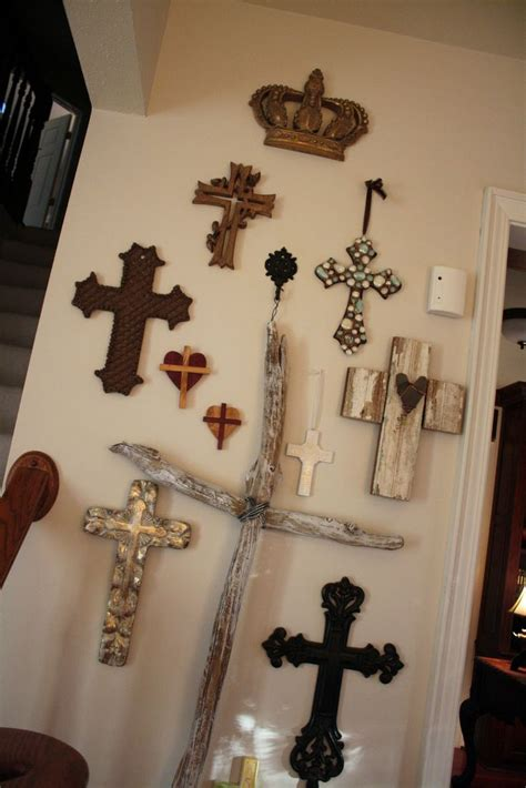 the cross home decor wall of crosses with crown at top i want a crown for my