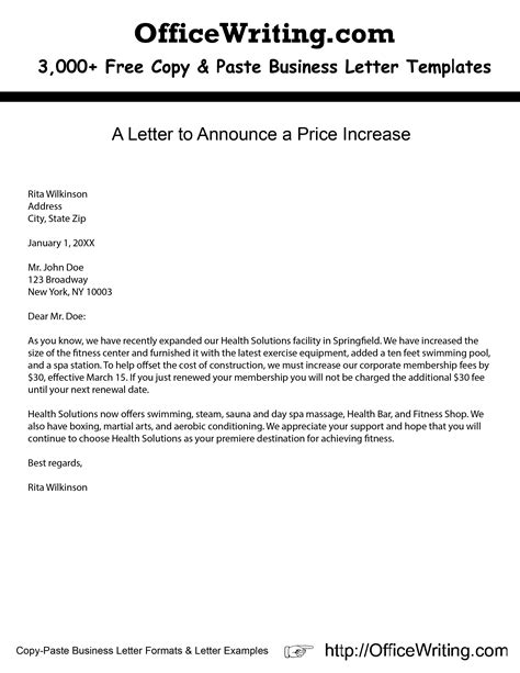 business letter template price increase a letter to announce a price increase we