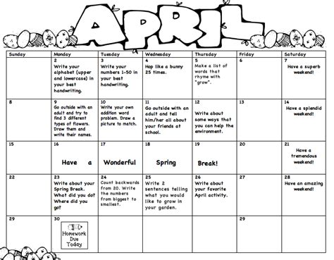 kindergarten themes april monthly homework miss lee s kindergarten