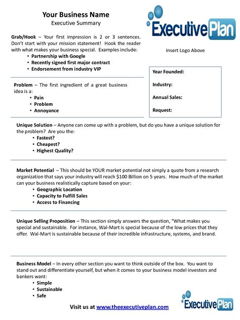 Short Business Plan Template Beepmunk Free Business Template