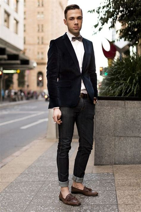 mens loafers fashion black linen jacket bow tie black denim fitted and